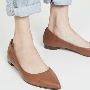 FRYE leather pointed toe brown flats